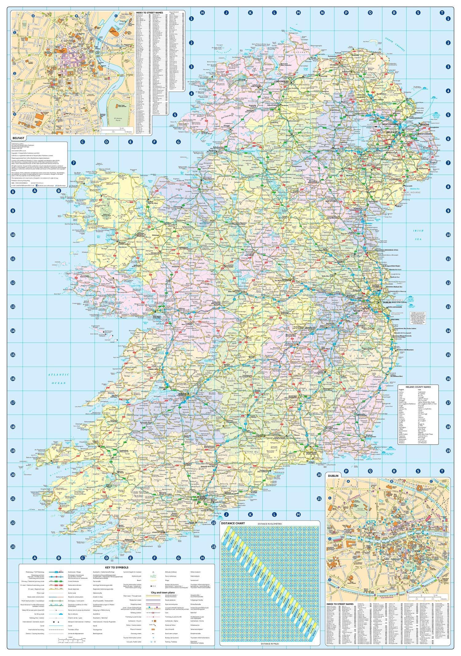 Karta Och Avstand.Avstand Karta Irland Karta Over Avstand Karta Irland Norra Europa