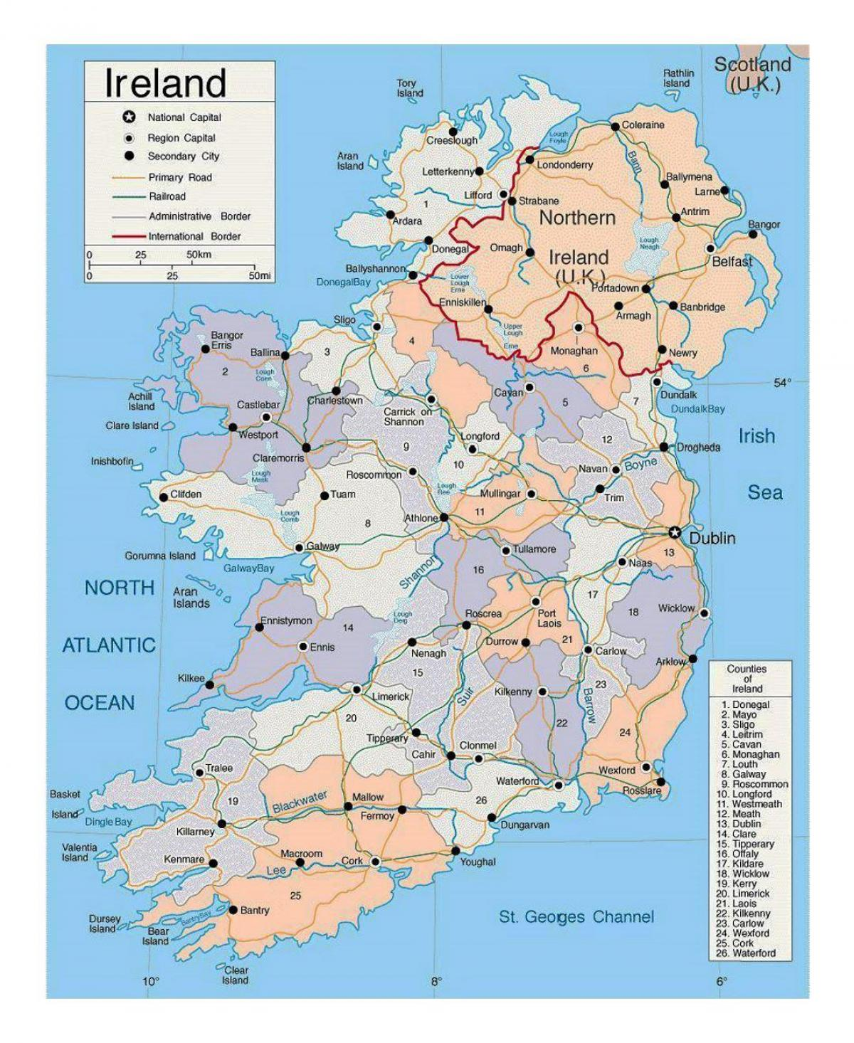 Irland Stader Karta Karta Over Irland Med Stader Norra Europa